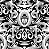Floral black and white damask seamless pattern. Vector backgroun. D with hand drawn doodle vintage flowers, swirl leaves, baroque style ornaments. Isolated Royalty Free Stock Photography