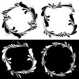 Floral black and white frames. Vector illustration Stock Image