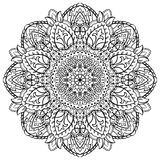 Floral black and white mandala. Stock Photography