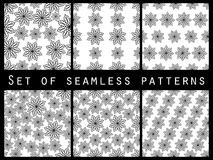Floral black and white seamless pattern set. For wallpaper, bed linen, tiles, fabrics, backgrounds. Stock Photography