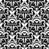 Floral black and white seamless pattern. Vector abstract background wallpaper with damask flowers, swirl leaves, curves, lines, m. Eanders, greek key, frames royalty free illustration