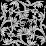 Floral black and white seamless pattern. Vector background with. Doodle striped hand drawn flowers, swirl curve laves, line art tracery ornaments. Isolated vector illustration