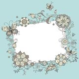 Floral blank sign. Illustration with linear floral elements and blank sign for your text Royalty Free Stock Photography