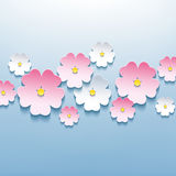 Floral blue background with 3d sakura. Beautiful floral blue background with white and pink 3d flower sakura. Stylish trendy modern background. Vector Stock Image