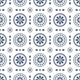 Floral blue cirles abstract seamless vector pattern. Abstract geometric pattern background royalty free illustration
