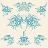 Floral blue elements in Gzhel style Stock Images