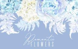 Floral blue horizontal border Stock Image
