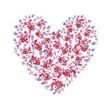 Floral blue, pink and red heart shaped. Cliparts for wedding design, artistic creation. vector illustration