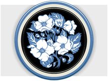 Floral blue plate Stock Photos