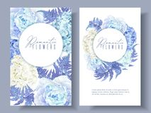 Floral blue round banners. Vector botanical banners with blue peony, hydrangea and fern. Floral design for natural cosmetics, perfume, women products. Best for Royalty Free Stock Photo