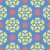 Floral blue seamless pattern. Bright background with colored flower elements. For wallpapers, textile and fabrics Royalty Free Stock Photos