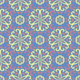 Floral blue seamless pattern. Bright background with colored flower elements. For wallpapers, textile and fabrics royalty free illustration