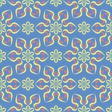 Floral blue seamless pattern. Bright background with colored flower elements. For wallpapers, textile and fabrics Stock Images