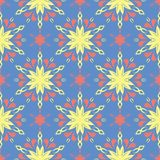 Floral blue seamless pattern. Bright background with colored flower elements. For wallpapers, textile and fabrics stock illustration