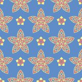Floral blue seamless pattern. Bright background with colored flower elements. For wallpapers, textile and fabrics Stock Image