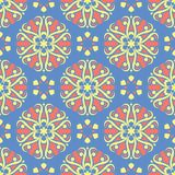 Floral blue seamless pattern. Bright background with colored flower elements. For wallpapers, textile and fabrics Royalty Free Stock Images