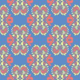 Floral blue seamless pattern. Bright background with colored flower elements. For wallpapers, textile and fabrics Royalty Free Stock Photography
