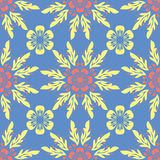 Floral blue seamless pattern. Bright background with colored flower elements. For wallpapers, textile and fabrics Stock Photography
