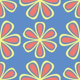 Floral blue seamless pattern. Bright background with colored flower elements. For wallpapers, textile and fabrics Royalty Free Stock Photo
