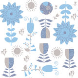 Floral blue seamless pattern. It is located in swatch menu, vect Royalty Free Stock Images