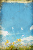 Floral in blue sky and cloud on old paper Stock Photos