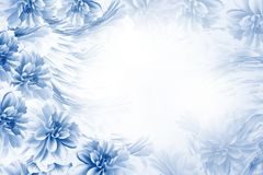 Floral blue-white beautiful background. Composition of flowers blue-white dahlias. Postcard for the holiday. Nature. Royalty Free Stock Photos