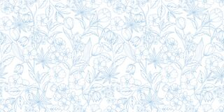 Floral blue and white seamless pattern