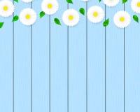 Floral blue wood planks. vector illustration