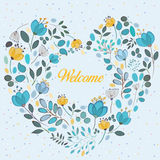 Floral blue and yellow heart with text Welcome Stock Photos