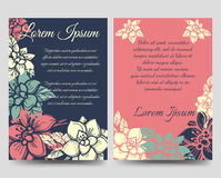 Floral boho style brochure flyers template Stock Images