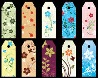 Floral bookmark. Set of ten vector floral bookmark labels Stock Photos