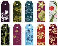 Floral bookmark. Set of ten vector floral bookmark labels Stock Images
