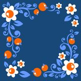 Floral border. Stylized floral pattern with flowers and berries on a blue background Royalty Free Stock Images