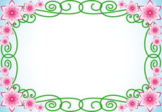 Floral border. With pink flowers and green spiral leaves vector illustration