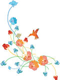 Floral border. With little bird Stock Photography