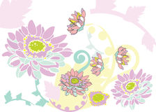 Floral border. Flowes asters are in pastel shades Royalty Free Stock Photo