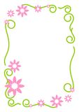Floral Border. Curve shape with pink flowers in the top and bottom corner royalty free illustration