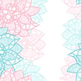 Floral border with abstract hand drawn flowers Stock Photography