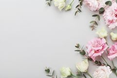Floral border of beautiful flowers and green eucalyptus leaves on gray table top view. Flat lay composition. Floral border of beautiful flowers and green royalty free stock images