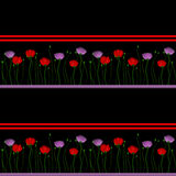 Floral border on a black background Royalty Free Stock Photo