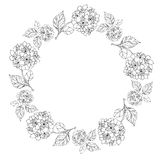 Floral border and circle frame. Layout template design with the round decorative frame can be use for greeting and invitation card, background, backdrop Royalty Free Stock Images
