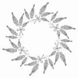 Floral border and circle frame. Royalty Free Stock Photography