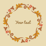 Floral border and circle frame. Vector illustration Stock Photo