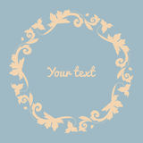 Floral border and circle frame. Vector illustration Royalty Free Stock Images