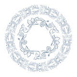 Floral border and circle frame. Stock Photo