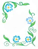 Floral border corner blue flowers Royalty Free Stock Photography