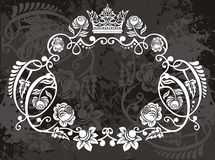 Floral border with crown Royalty Free Stock Image