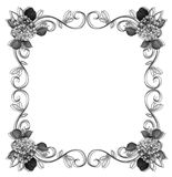 Floral Border design element black and white royalty free stock photo