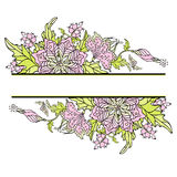 Floral border. With flowers, berries and butterflies. Vector illustration Royalty Free Stock Photos