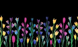 Floral border with flowers on black background.Seamless border vector illustration